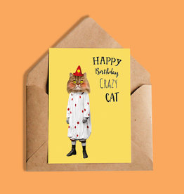 So Meow Happy Birthday Crazy Cat Greeting Card