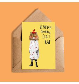 So Meow Happy Birthday Crazy Cat Greeting Card