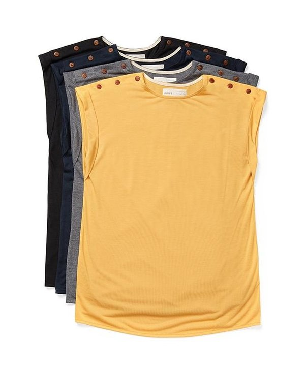 T-shirt with buttons on the shoulders - 3 colors- 2004w Top