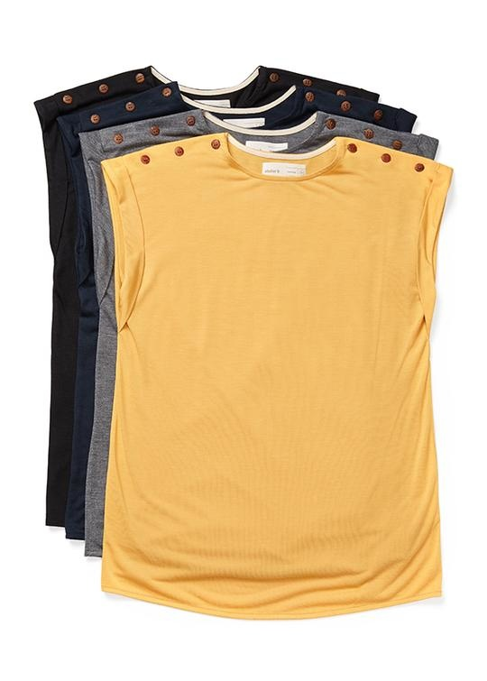 Atelier b  T-shirt with buttons on the shoulders - 3 colors- 2004w Top