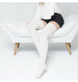 Mondor Bas au-dessus du genou en laine mérinos côtelée - 2 couleurs