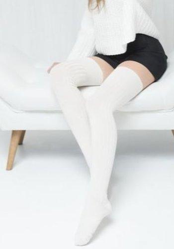 Bas au-dessus du genou en laine mérinos côtelée - 2 couleurs