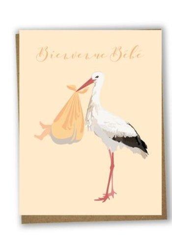 Carte de souhait bilingue  - Bienvenue bébé cigogne