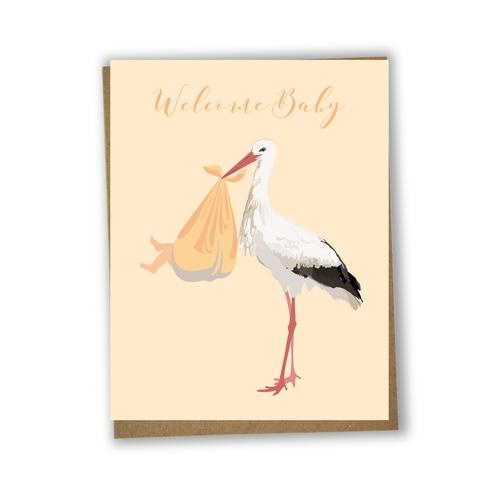 Lili Graffiti Bilingual greeting cards  - Welcome baby stork