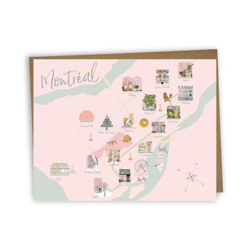 Lili Graffiti Greeting Card - Map of Montreal