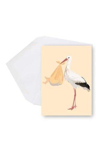 Mini carte - bebe cigogne