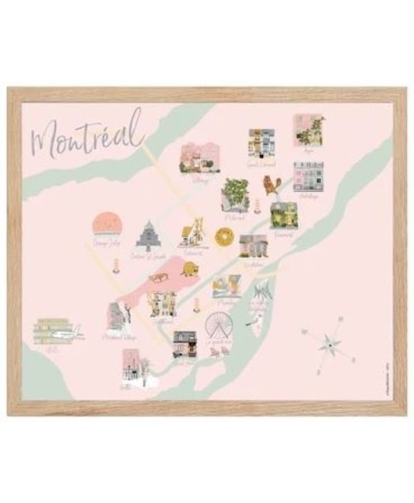 Grande Carte de Montréal 12x18