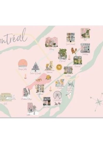 Post Card - Map of Montreal