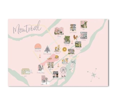 Lili Graffiti Post Card - Map of Montreal