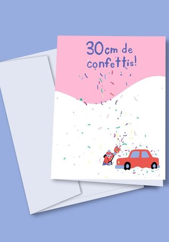 Carte de souh. 30cm de confettis