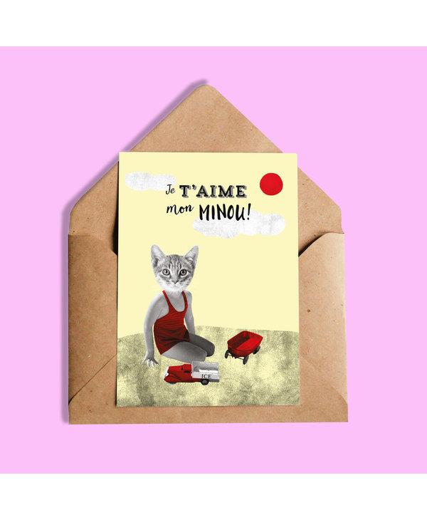 Greeting Card -- Je taime mon minou