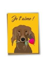 Lili Graffiti Je T'aime Chien Greeting Card