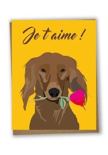 Carte de souh. je t'aime chien