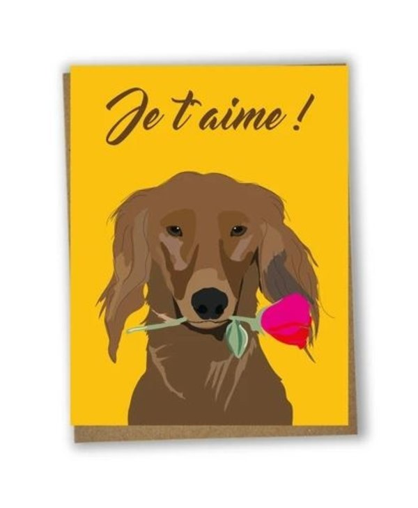Je T'aime Chien Greeting Card