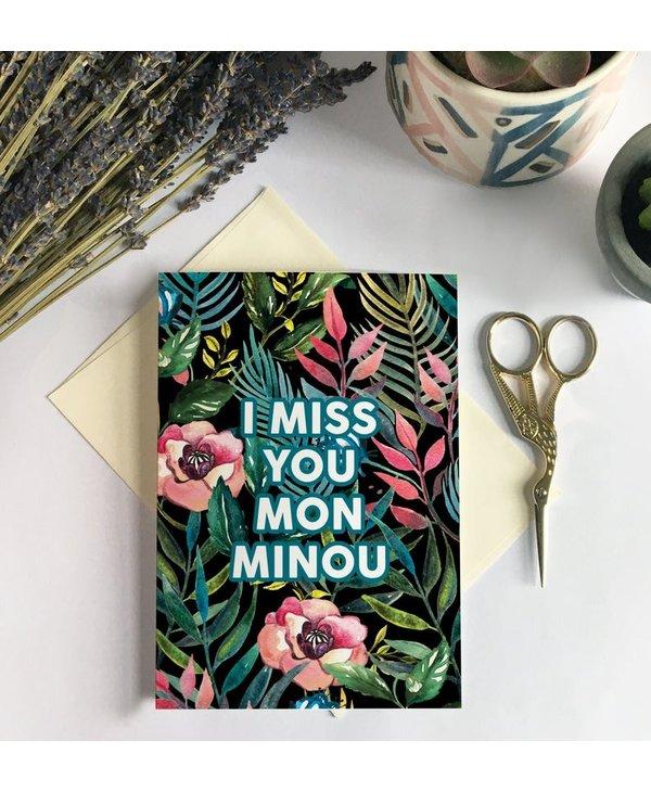 Carte de souhait - Miss You Minou