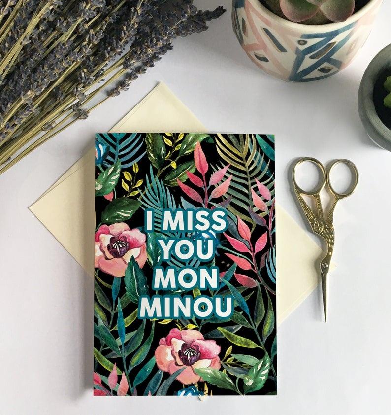 Merci Bonsoir par Marie-Claude Marquis Carte de souhait - Miss You Minou