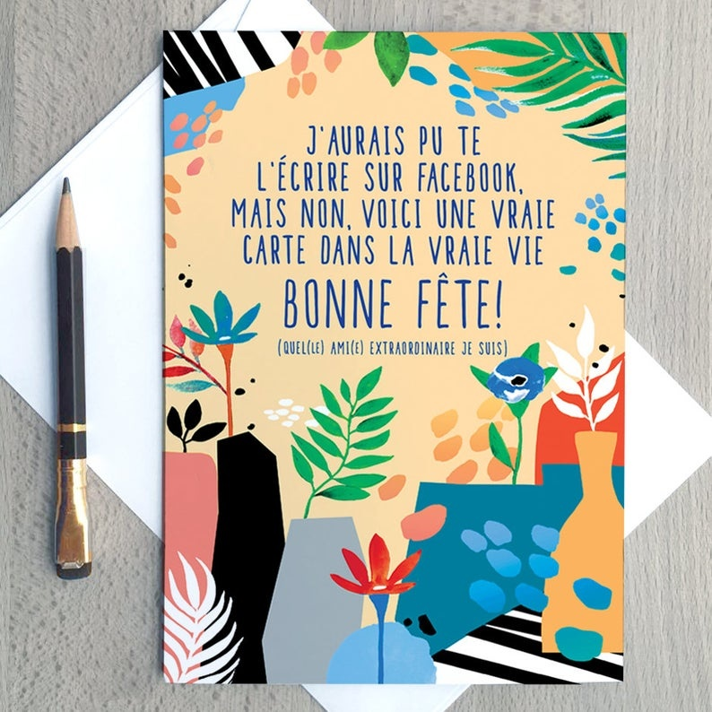 Merci Bonsoir par Marie-Claude Marquis Greeting Card - Facebook