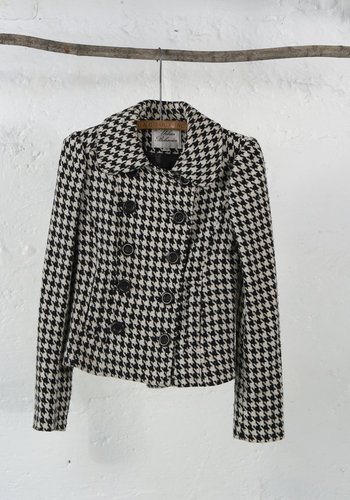 Short Houndstooth Double Breasted Coat