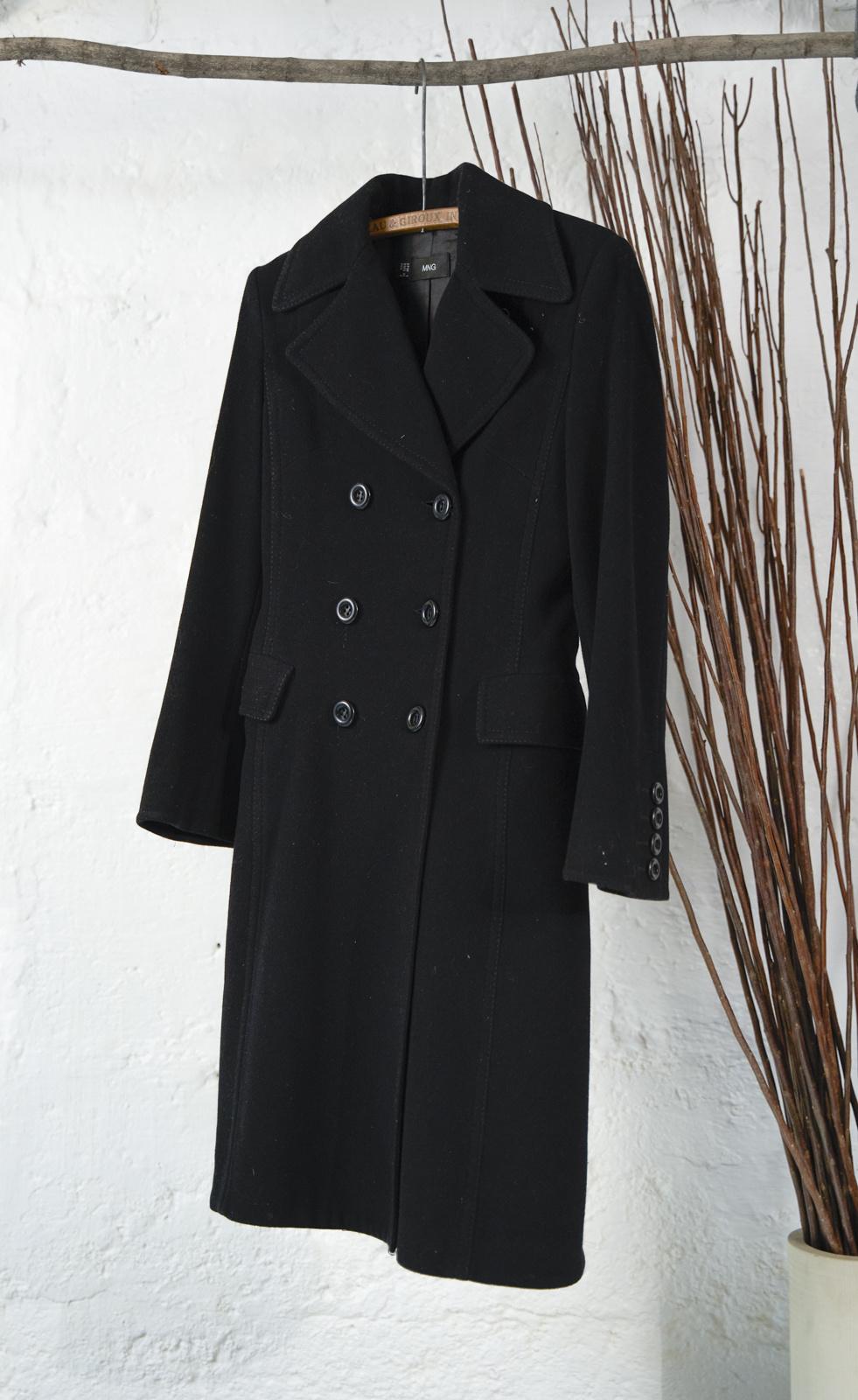 Long Black Wool Trench Coat