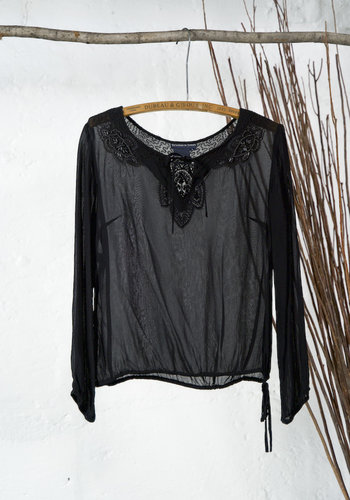 Sheer Black Top with Beading
