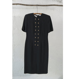 Double Breasted Black Dress with Gold Buttons
