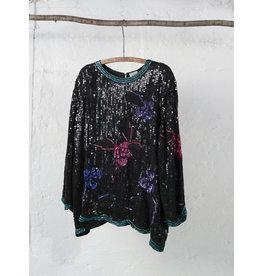 Long Sleeved Black Sequin Top
