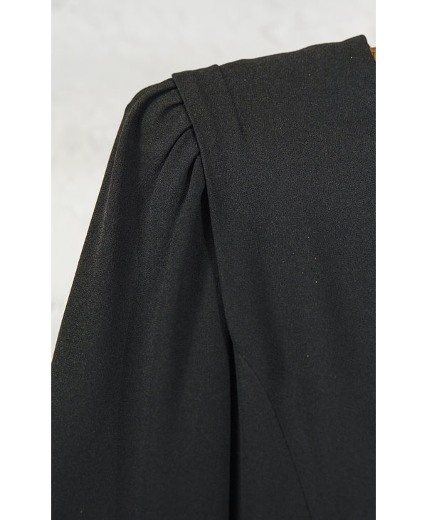 Black Dress with Pleated Skirt
