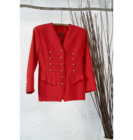 Red Blazer with Triple Gold Buttons