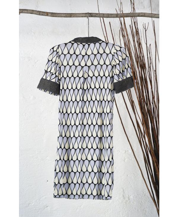 Blue and White Short Sleeve Mod Dress