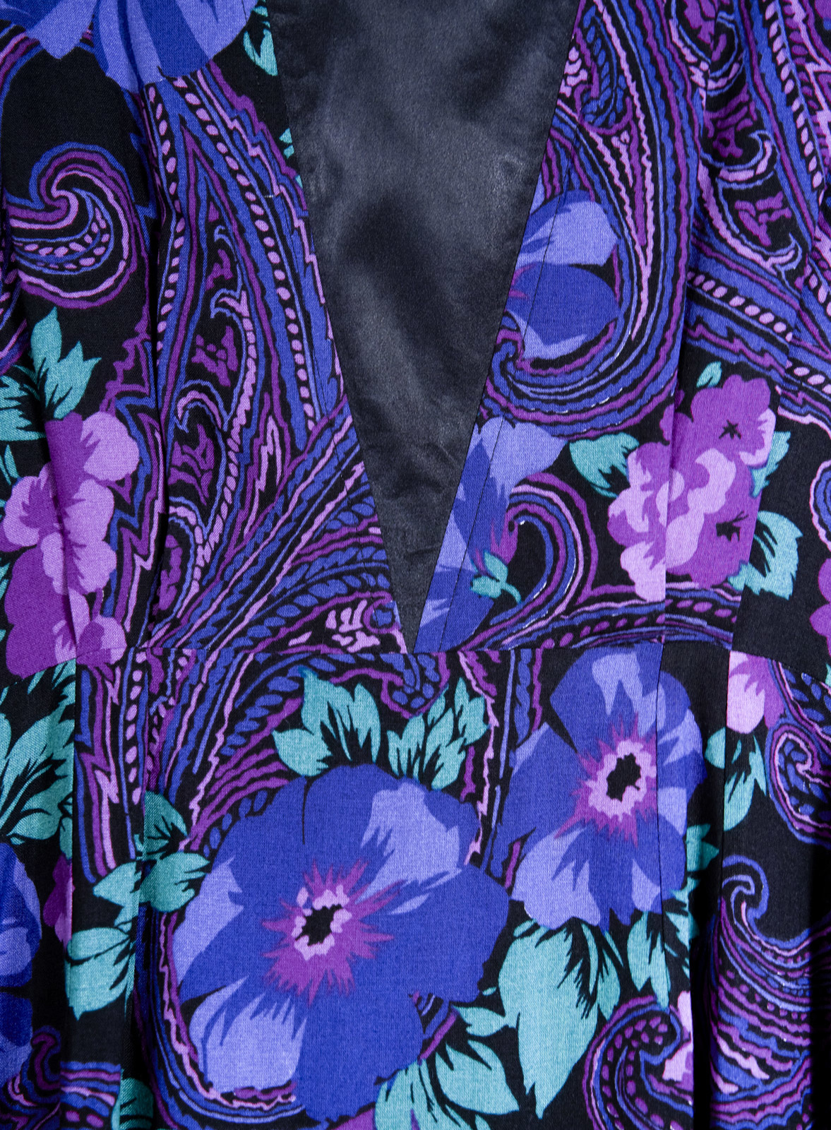 Long Paisley Dress Purple Blue