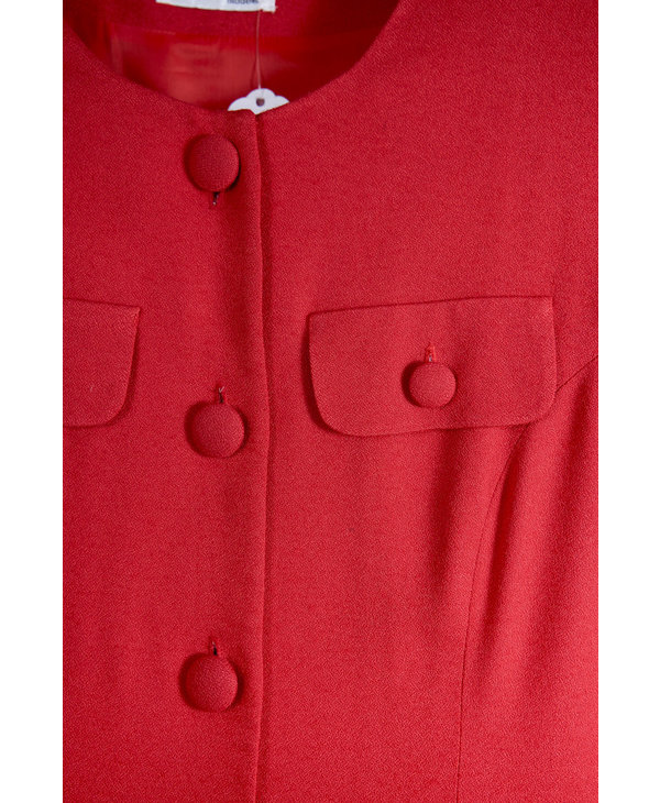 Depeche Red Dress with Buttons