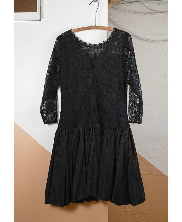 Black Lace and Taffeta Dress