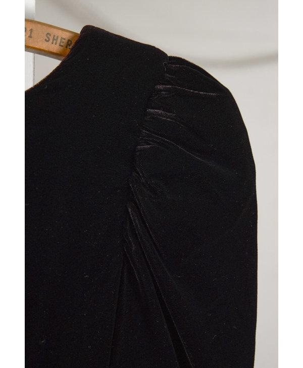 Black Velvet and Polka Dot Party Dress