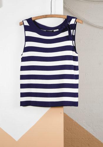 JNY Navy White Stripe Top