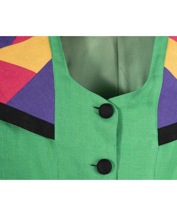 Haut vert avec blocs de couleur
