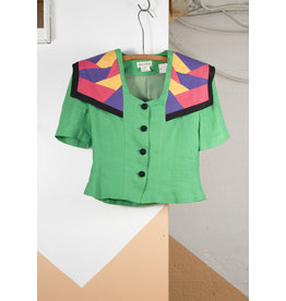 Green Colour-Block Sailor Top