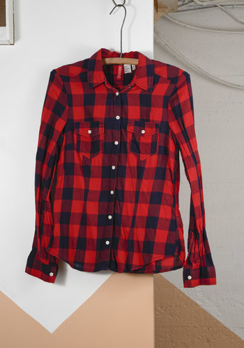 Red and Black Plaid Top