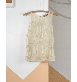 Ivory Mesh Tank with Sequins