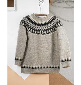 Sweater laine bleu-creme et charbon