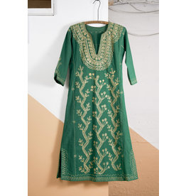 Green Tunic Dress with Gold Embroidery