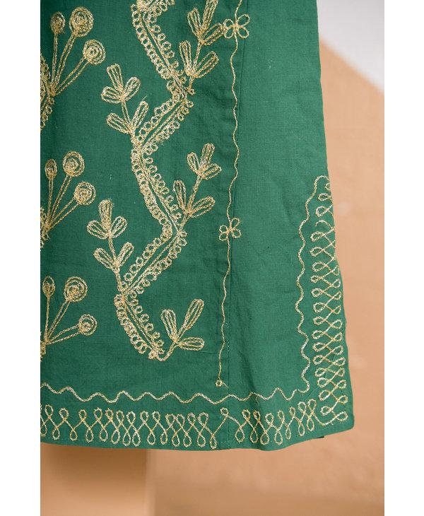 Robe indienne verte broderie or