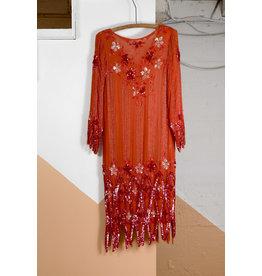Orange Sequined Voile Dress