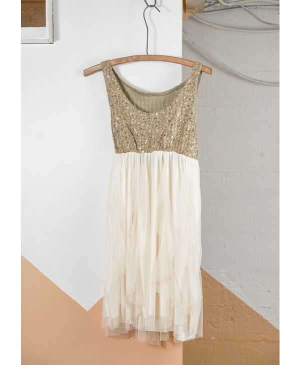 Sequined Knit Top Dress with Tulle Skirt