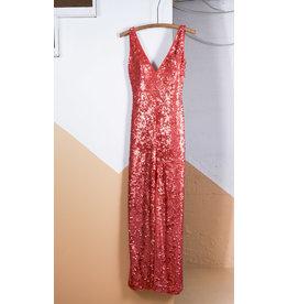 Robe BCBG rouge paillette col V