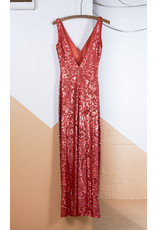 Long Red Sequined BCBG Gown