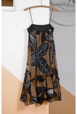 Robe droite fine bretelle noir et brun