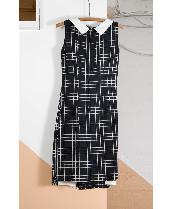 Black Slit Dress with White Squares, Collar, and Buttons