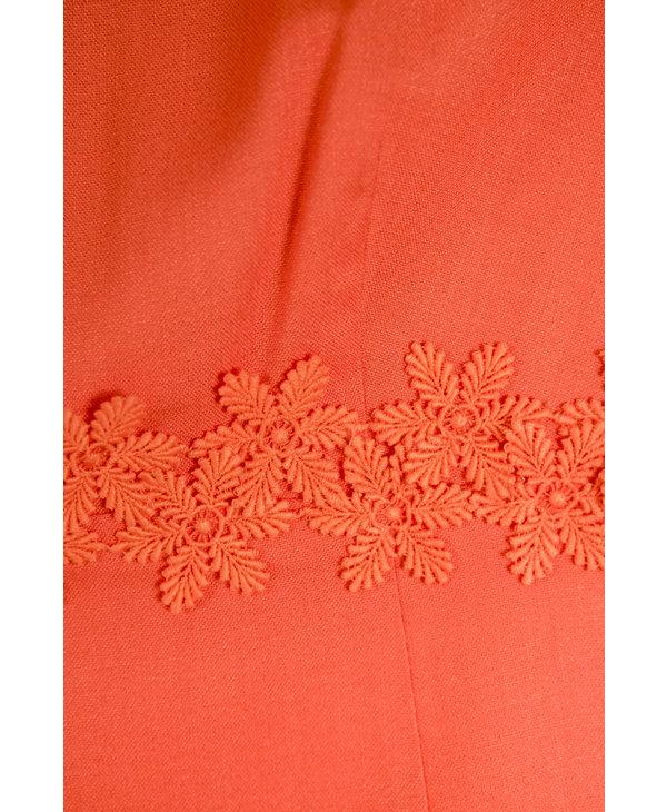 Evelyn Williams Orange Embroidered Dress