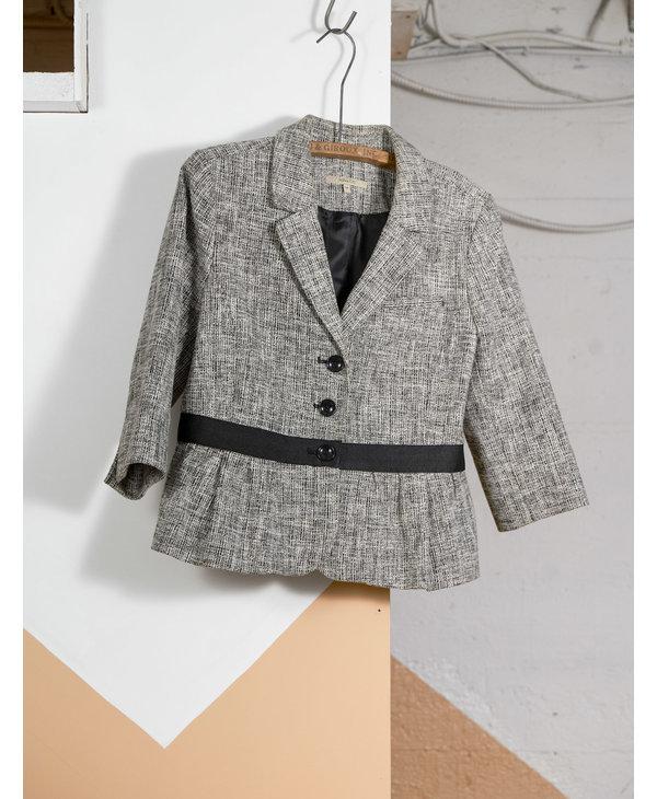 B&W Tweed Blazer with Black Waistband