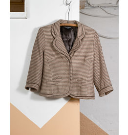 Taupe Blazer with Piped Edging